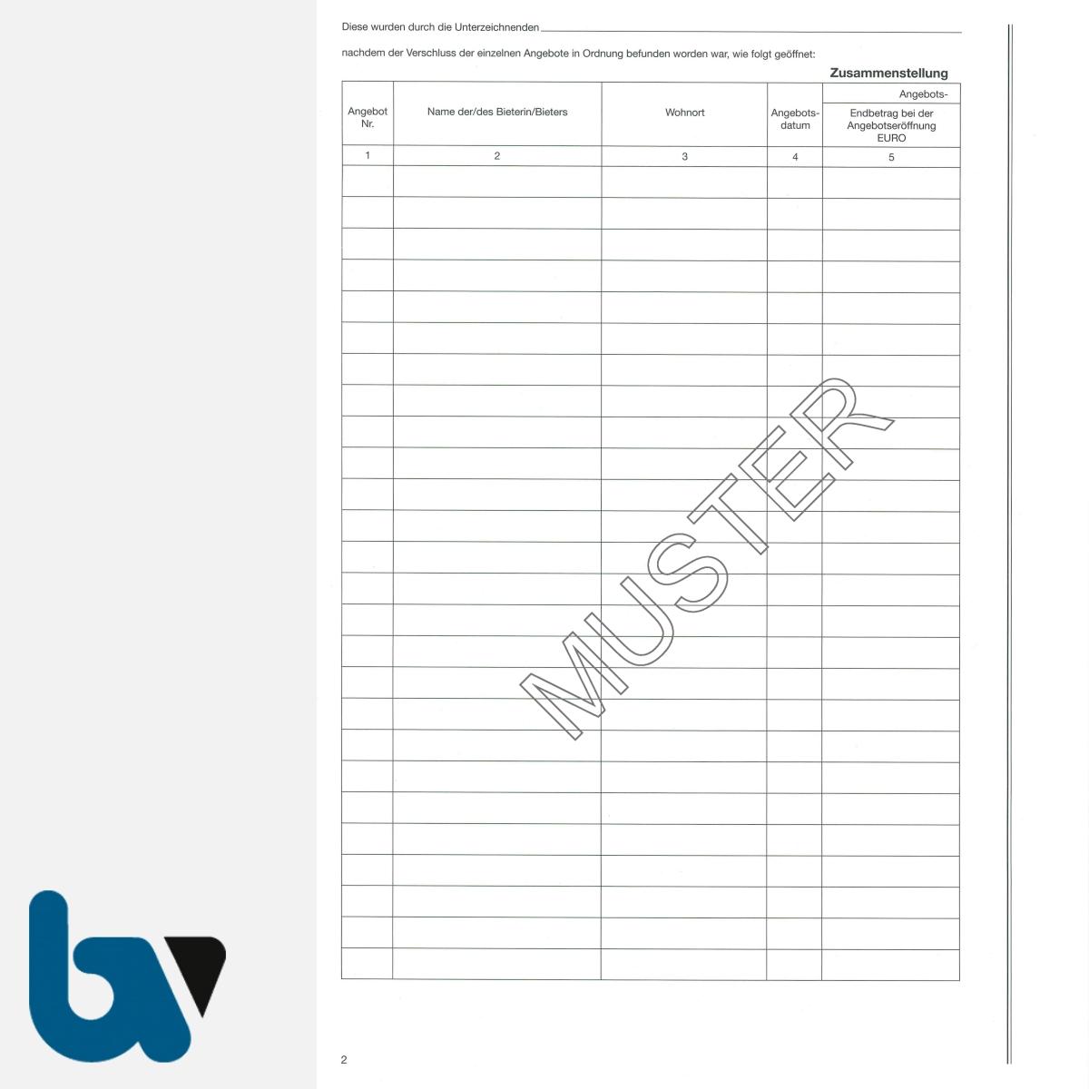 0/704-8 Verdingungsverhandlung Niederschrift Lieferung Leistung Ausschreibung Submission VOB VOL Doppelbogen DIN A4 Seite 2 | Borgard Verlag GmbH