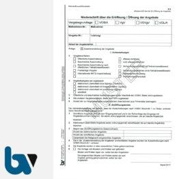 0/704-9 Verdingungsverhandlung Niederschrift Ausschreibung Submission VOB VOL VgV VSVgV Doppelbogen DIN A4 Seite 1 | Borgard Verlag GmbH