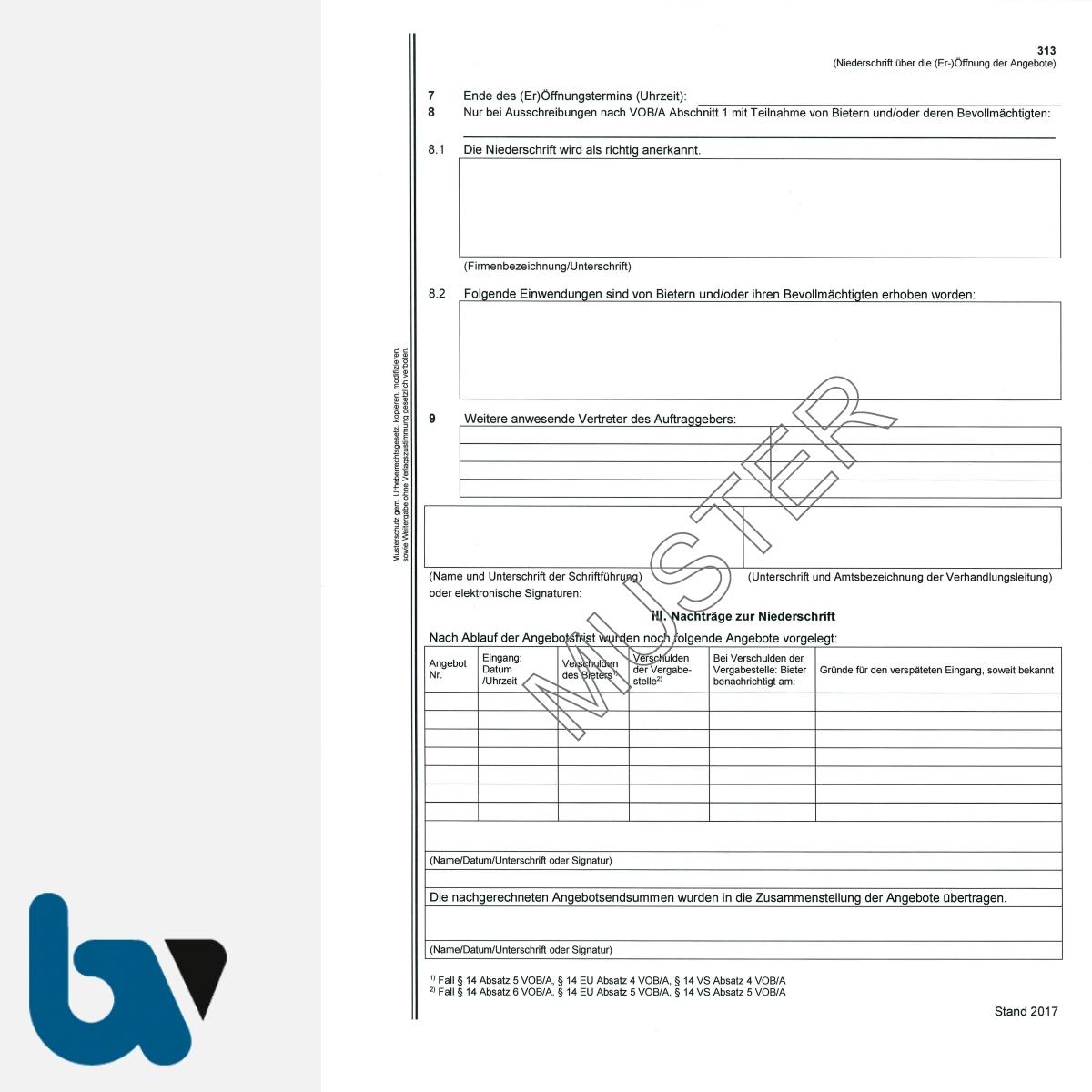 0/704-9 Verdingungsverhandlung Niederschrift Ausschreibung Submission VOB VOL VgV VSVgV Doppelbogen DIN A4 Seite 2 | Borgard Verlag GmbH