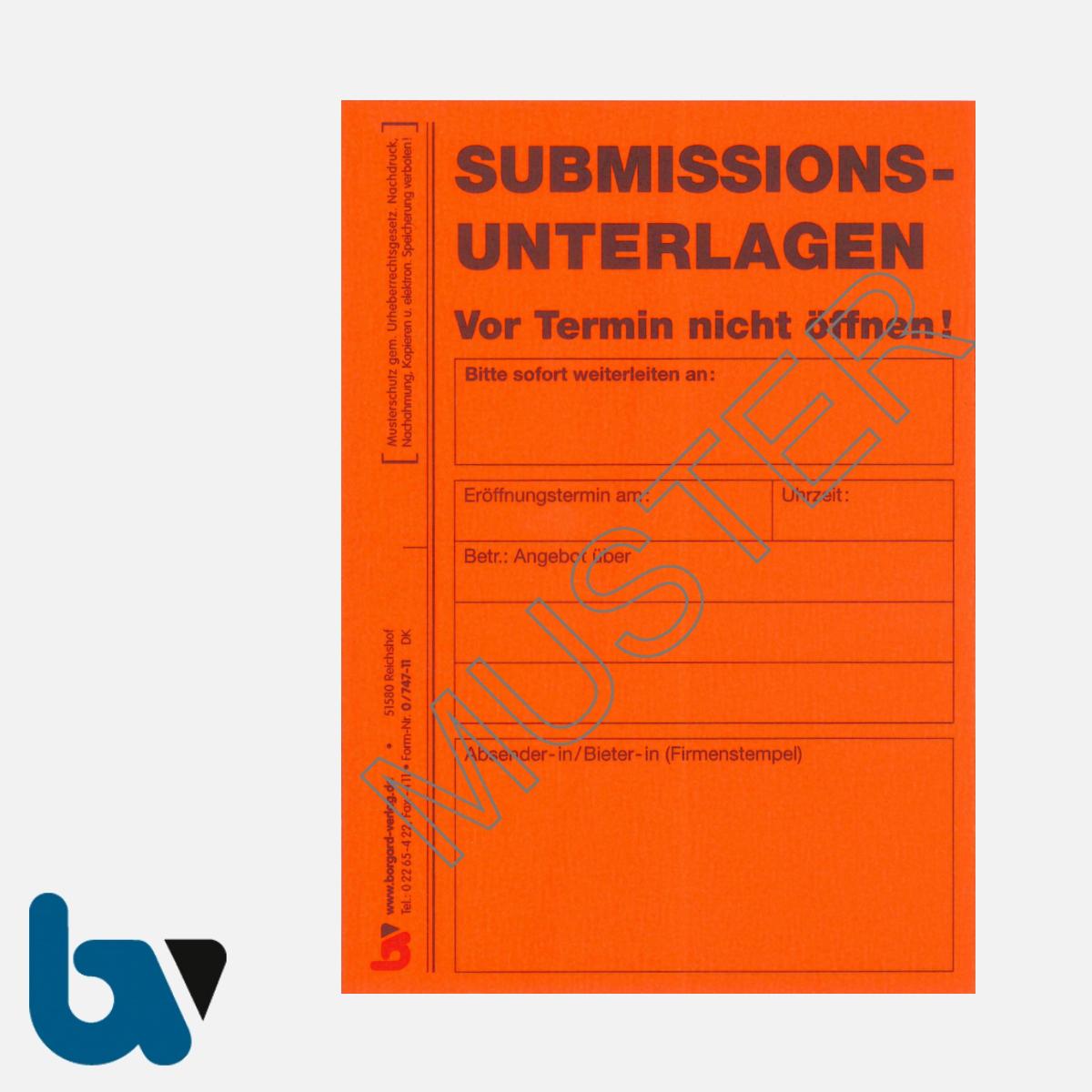 0/747-11 Angebotsaufkleber Kennzettel Submissionsunterlagen Ausschreibung VOL VOB rot selbstklebend DIN A6 | Borgard Verlag GmbH