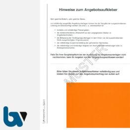 0/747-13 Angebotsaufkleber Kennzettel Ausschreibung Submission VOB VOL rot selbstklebend Drucken Ausdruck Stanzung gestanzt DIN A4 | Borgard Verlag GmbH