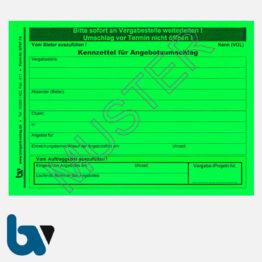 0/747-15 Angebotsaufkleber Kennzettel Submission Ausschreibung VOL grün selbstklebend DIN A6 | Borgard Verlag GmbH