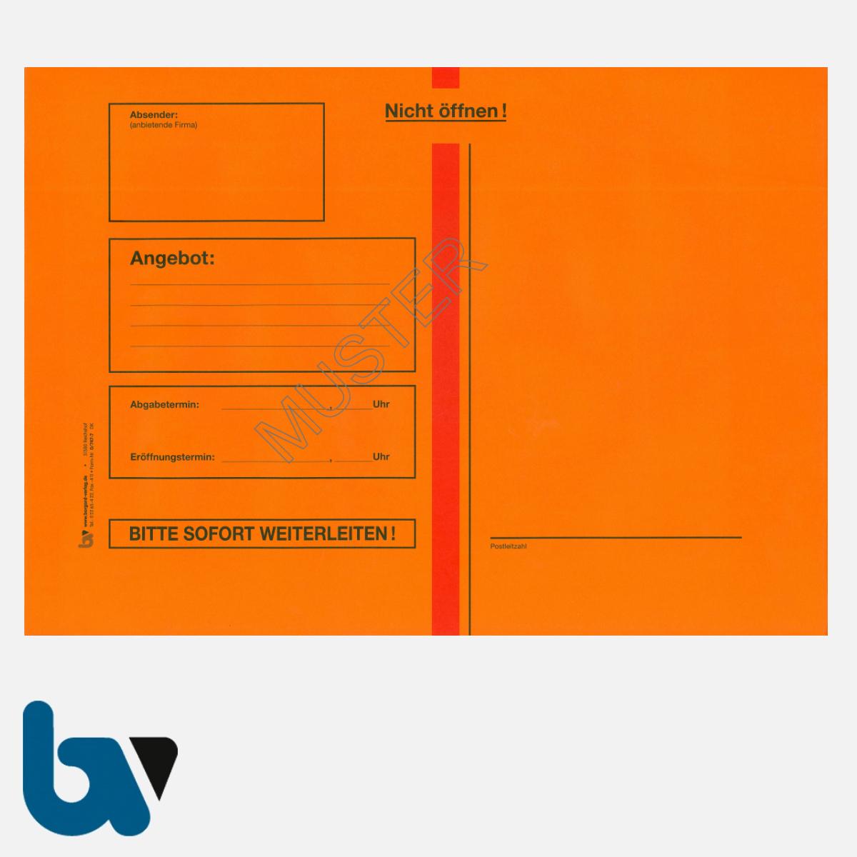 0/747-7 Angebotsumschlag Ausschreibung rot Haftklebung haftklebend Sicherheitsverschluss DIN B4 Vorderseite | Borgard Verlag GmbH