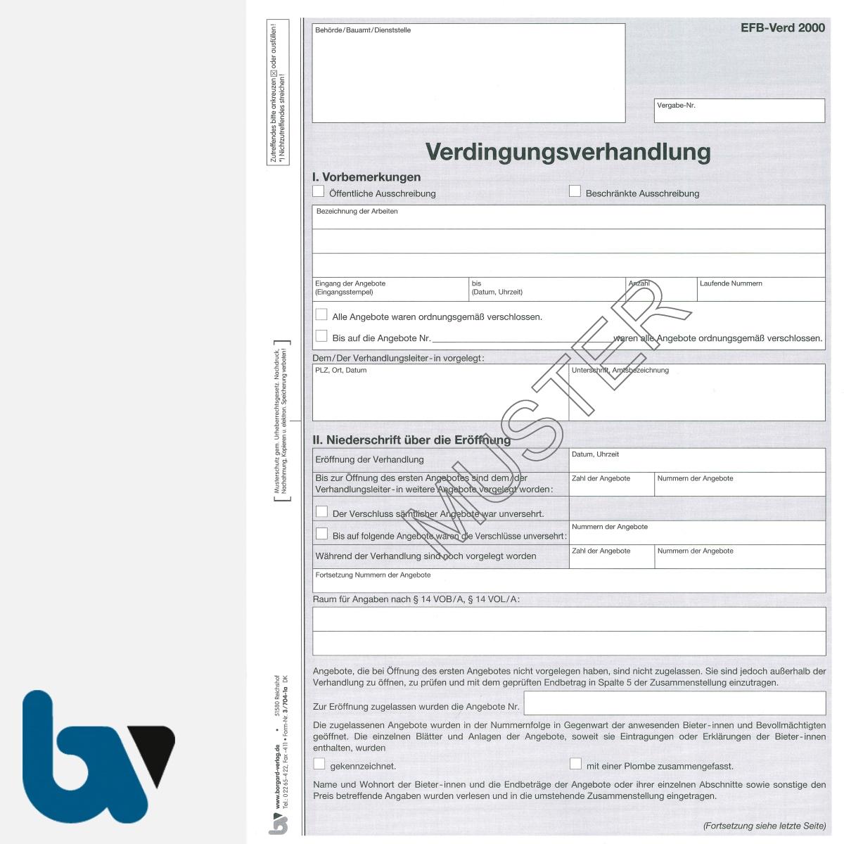 3/704-1a Verdingungsverhandlung Niederschrift Ausschreibung Submission VOB VOL Doppelbogen DIN A4 Seite 1 | Borgard Verlag GmbH