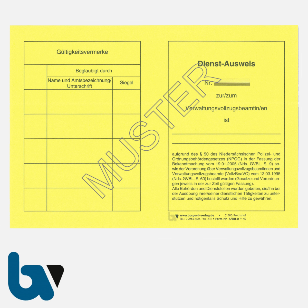 4/881-2 Dienstausweis Verwaltungsvollzugsbeamte Niedersachsen NPOG Polizei Ordnungsbehördengesetz Neobond gelb DIN A5 A6 Vorderseite| Borgard Verlag GmbH