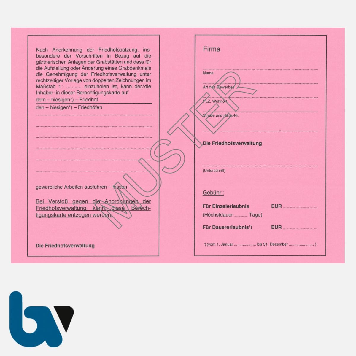 0/151-3 Berechtigungs Ausweis Ausführung Gewerblich Arbeiten Friedhof Friedhöfe Verwaltung Neobond rosa DIN A5 A6 Rückseite | Borgard Verlag GmbH