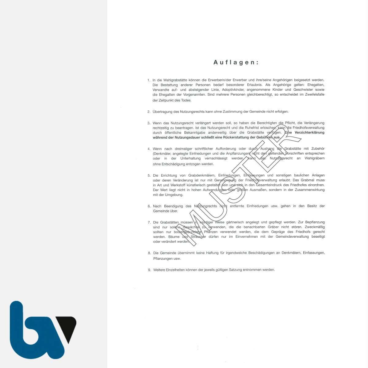 0/168-1 Urkunde Erwerb Nutzungsrecht Wahlgrabstätte Friedhof Verwaltung 2-fach DIN A4 Rückseite | Borgard Verlag GmbH