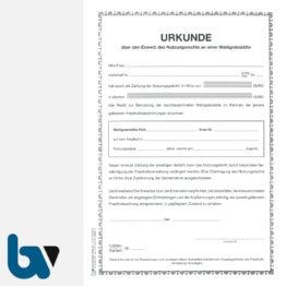 0/168-1 Urkunde Erwerb Nutzungsrecht Wahlgrabstätte Friedhof Verwaltung 2-fach DIN A4 Vorderseite | Borgard Verlag GmbH