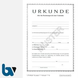 0/168-3 Urkunde Erwerb Benutzungsrecht Grabstätte Friedhof Verwaltung 2-fach DIN A4 Vorderseite | Borgard Verlag GmbH