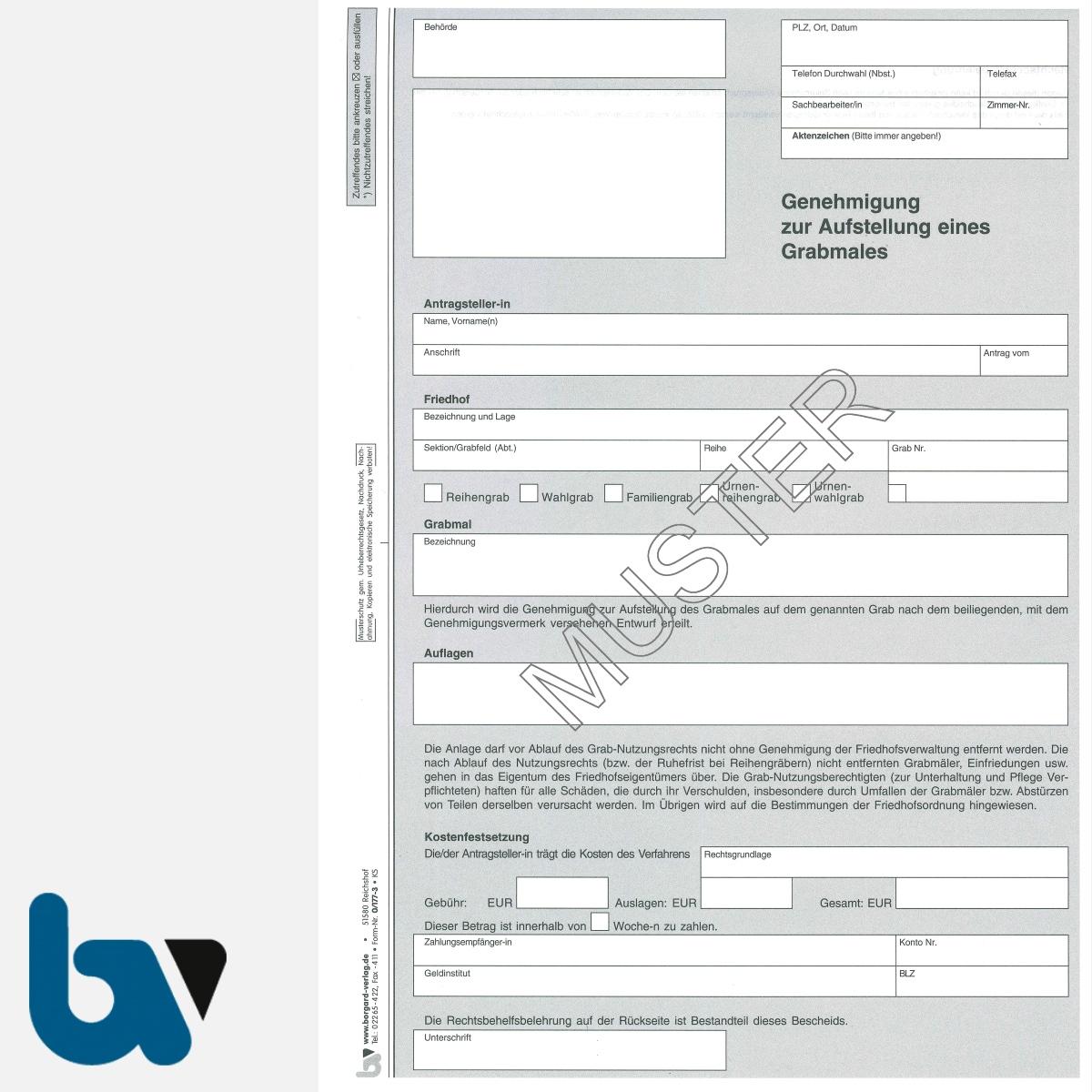 0/177-3 Genehmigung Aufstellung Grabmal Friedhof Verwaltung 3-fach selbstdurchschreibend DIN A4 Vorderseite | Borgard Verlag GmbH