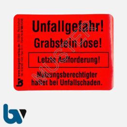 0/182-1.1 Grab Aufkleber Unfallgefahr Grabstein lose letzte Aufforderung standsicher Friedhof Verwaltung rot PVC Folie selbstklebend   Borgard Verlag GmbH