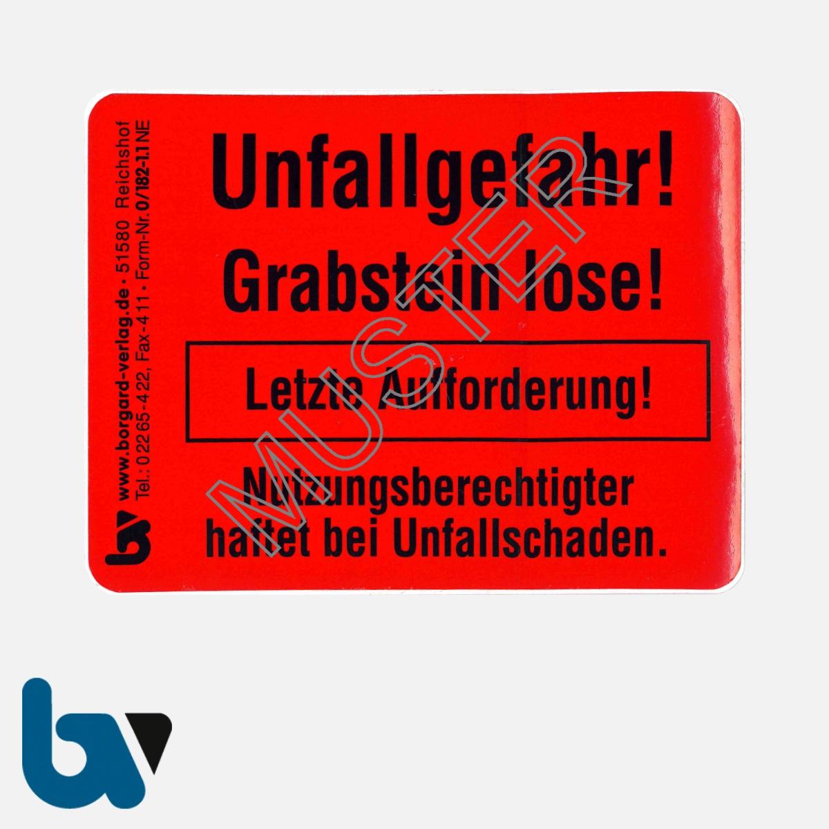 0/182-1.1 Grab Aufkleber Unfallgefahr Grabstein lose letzte Aufforderung standsicher Friedhof Verwaltung rot PVC Folie selbstklebend | Borgard Verlag GmbH
