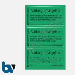 0/182-1.2 Grab Aufkleber Achtung Unfallgefahr standsicher Friedhof Verwaltung grün PVC Folie selbstklebend | Borgard Verlag GmbH