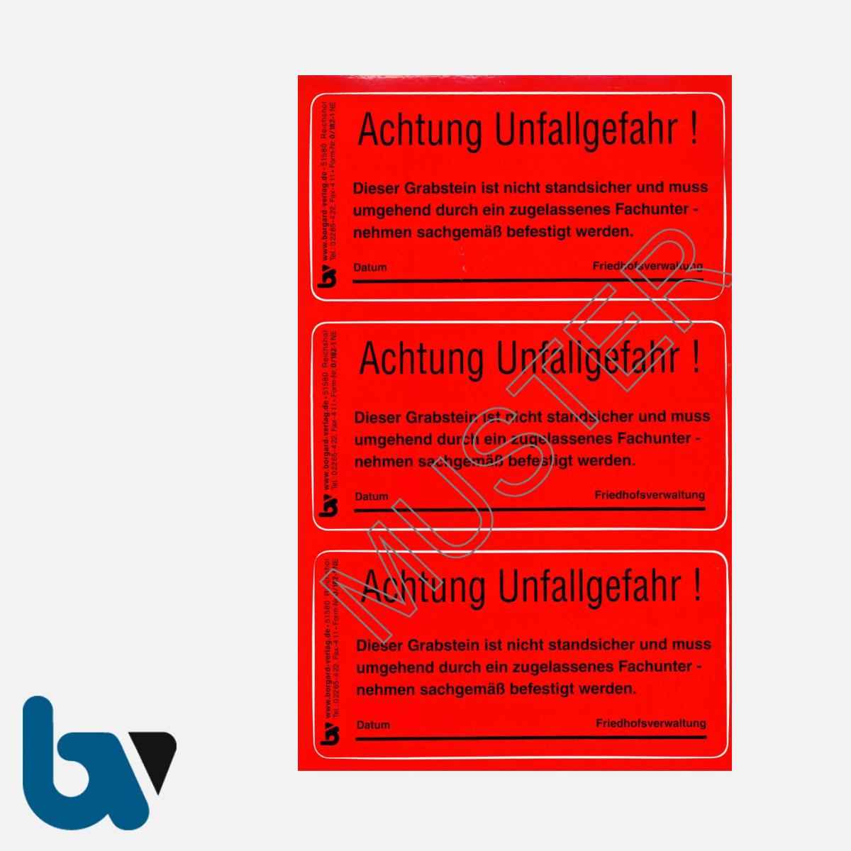 0/182-1 Grab Aufkleber Achtung Unfallgefahr standsicher Friedhof Verwaltung rot PVC Folie selbstklebend | Borgard Verlag GmbH
