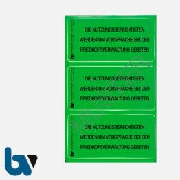 0/182-2 Grab Aufkleber Nutzungsberechtigte Vorsprache Aufforderung Friedhof Verwaltung grün PVC Folie selbstklebend   Borgard Verlag GmbH