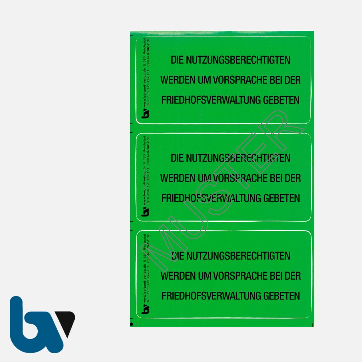0/182-2 Grab Aufkleber Nutzungsberechtigte Vorsprache Aufforderung Friedhof Verwaltung grün PVC Folie selbstklebend | Borgard Verlag GmbH