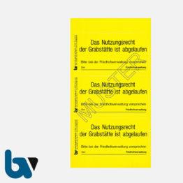 0/182-3 Grab Aufkleber Nutzungsrecht Abgelaufen Vorsprache Aufforderung Friedhof Verwaltung gelb PVC Folie selbstklebend   Borgard Verlag GmbH