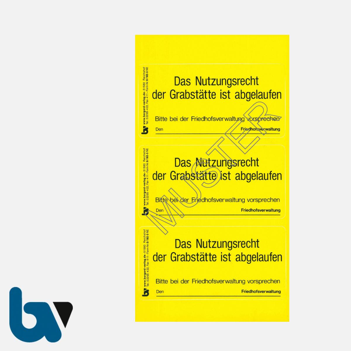 0/182-3 Grab Aufkleber Nutzungsrecht Abgelaufen Vorsprache Aufforderung Friedhof Verwaltung gelb PVC Folie selbstklebend | Borgard Verlag GmbH