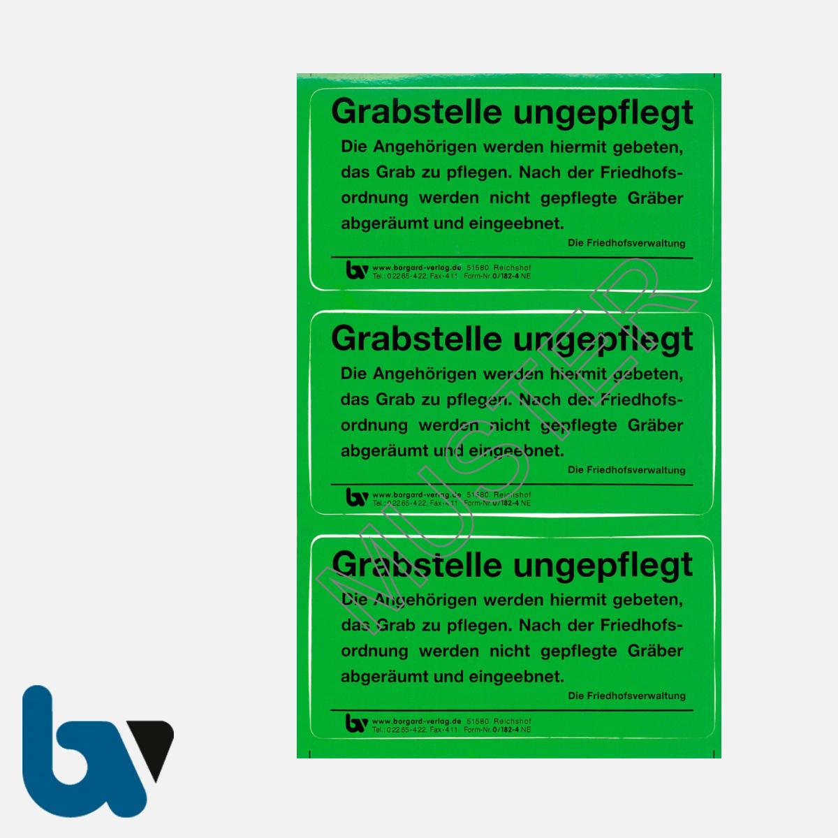 0/182-4 Grab Aufkleber Grabstelle ungepflegt Angehörige Aufforderung Pflege Friedhof Verwaltung grün PVC Folie selbstklebend | Borgard Verlag GmbH