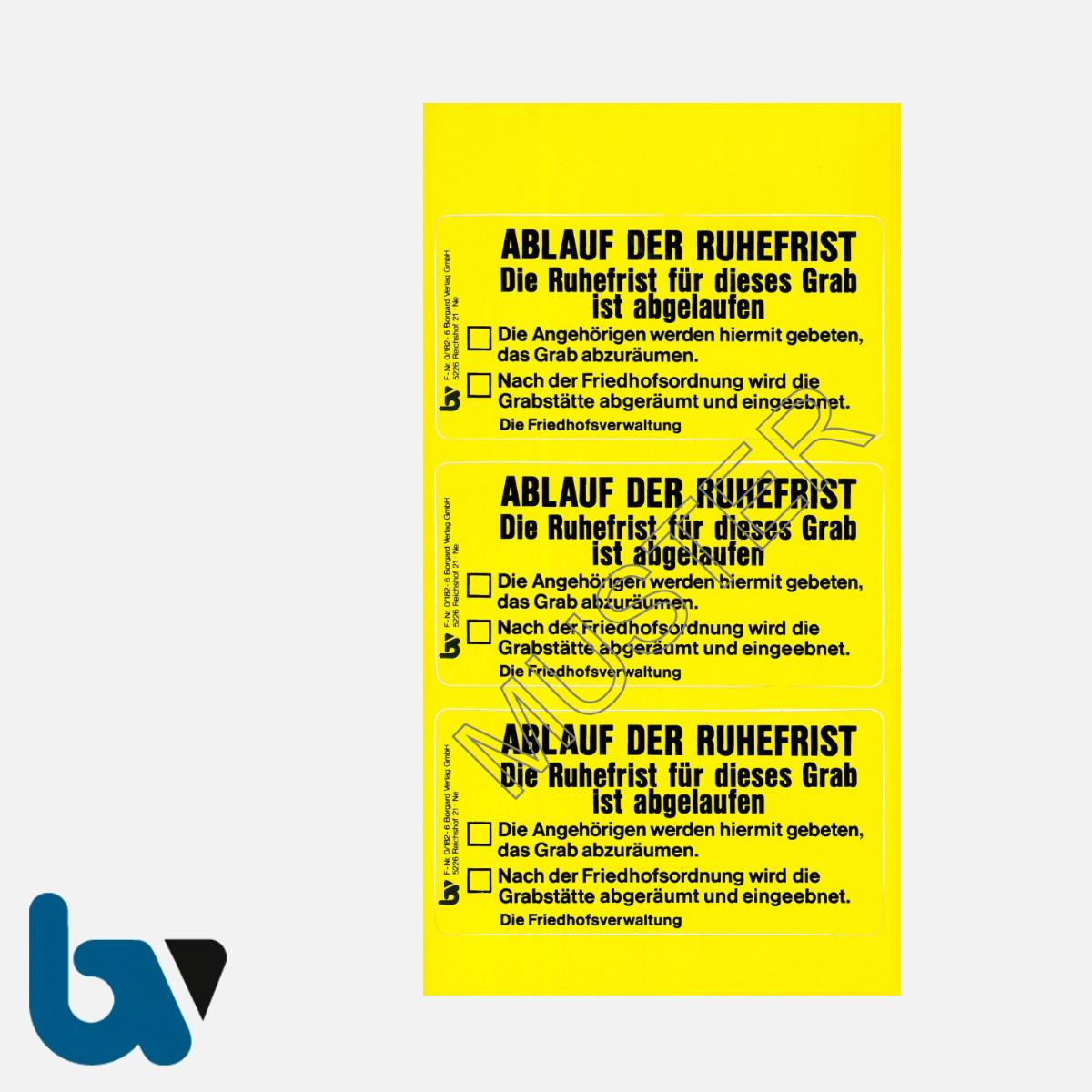 0/182-6 Grab Aufkleber Ablauf Ruhefrist Grabstelle Angehörige Aufforderung Friedhof Verwaltung gelb PVC Folie selbstklebend | Borgard Verlag GmbH