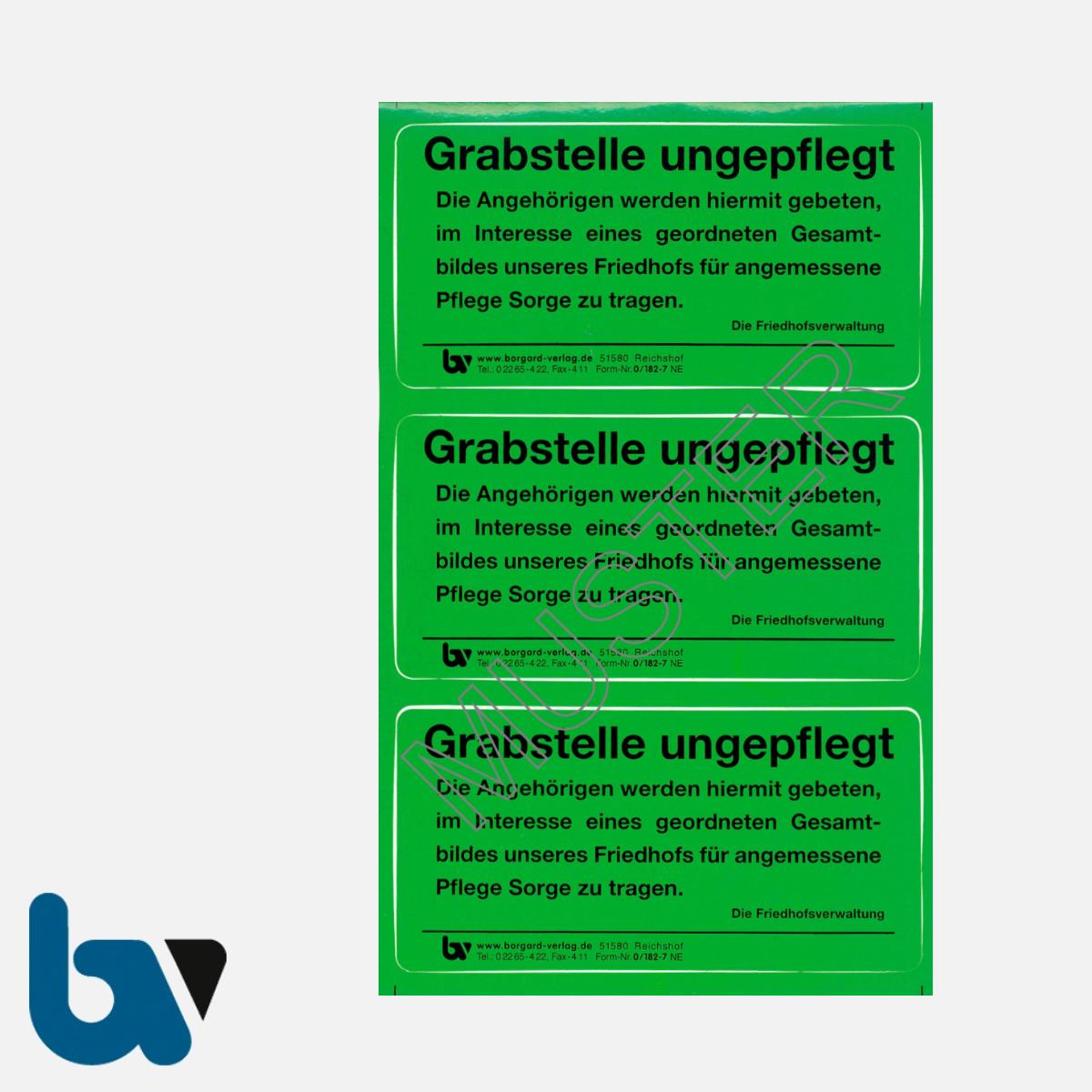 0/182-7 Grab Aufkleber Grabstelle ungepflegt Angehörige Aufforderung Pflege Friedhof Verwaltung grün PVC Folie selbstklebend | Borgard Verlag GmbH