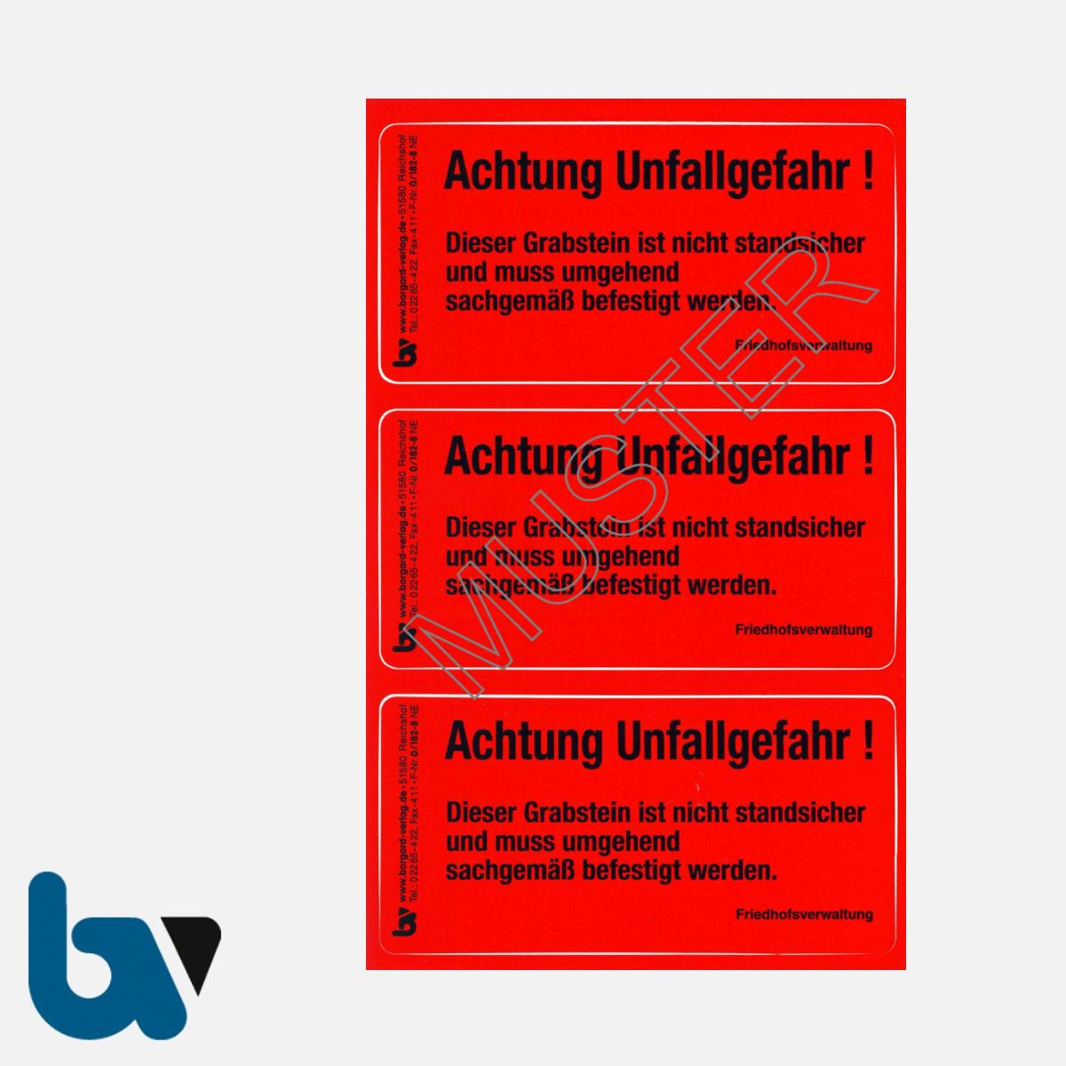 0/182-8 Grab Aufkleber Achtung Unfallgefahr Grabstein nicht Standsicher Angehörige Aufforderung Friedhof Verwaltung rot PVC Folie selbstklebend | Borgard Verlag GmbH