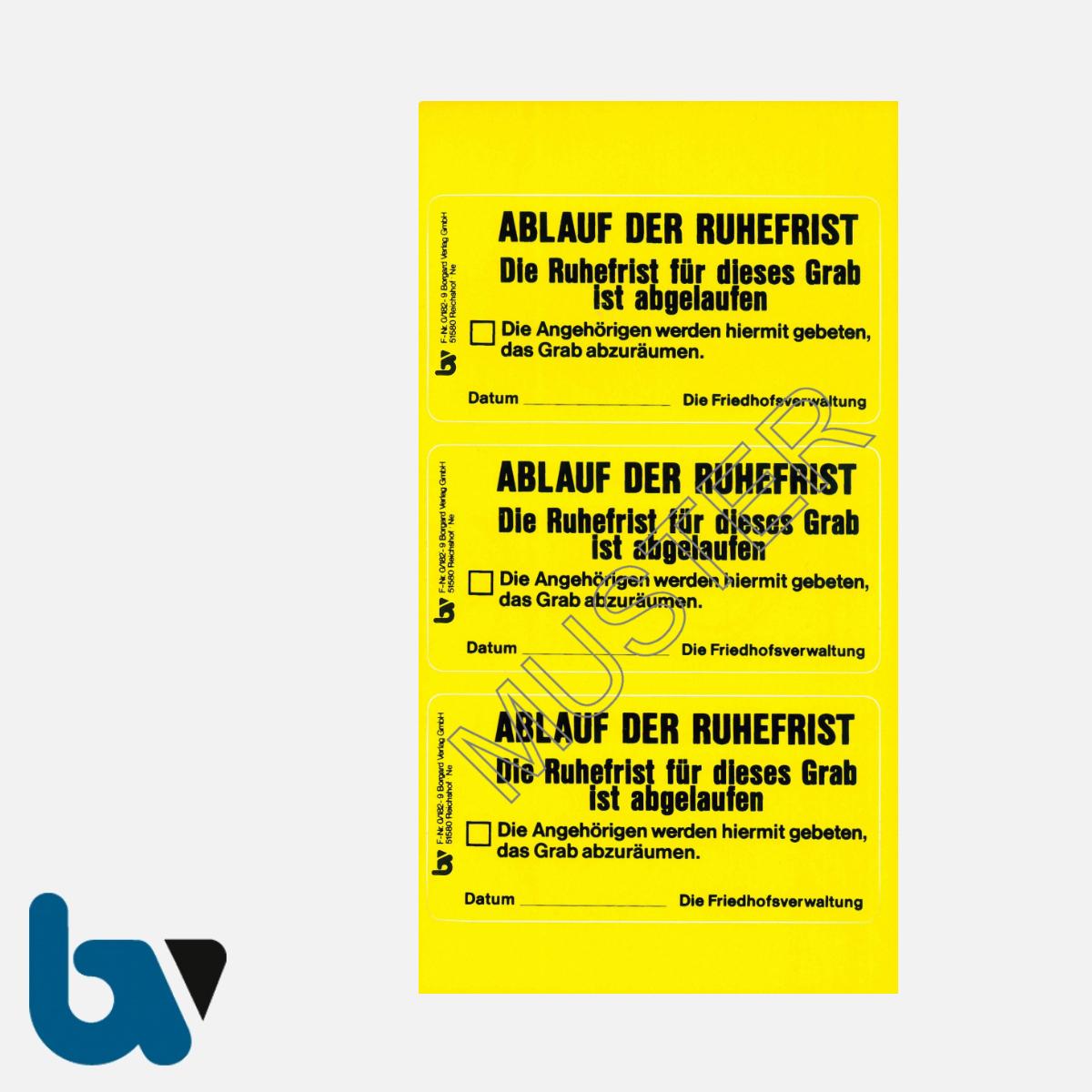 0/182-9 Grab Aufkleber Ablauf Ruhefrist Grabstelle Angehörige Aufforderung Friedhof Verwaltung gelb PVC Folie selbstklebend | Borgard Verlag GmbH