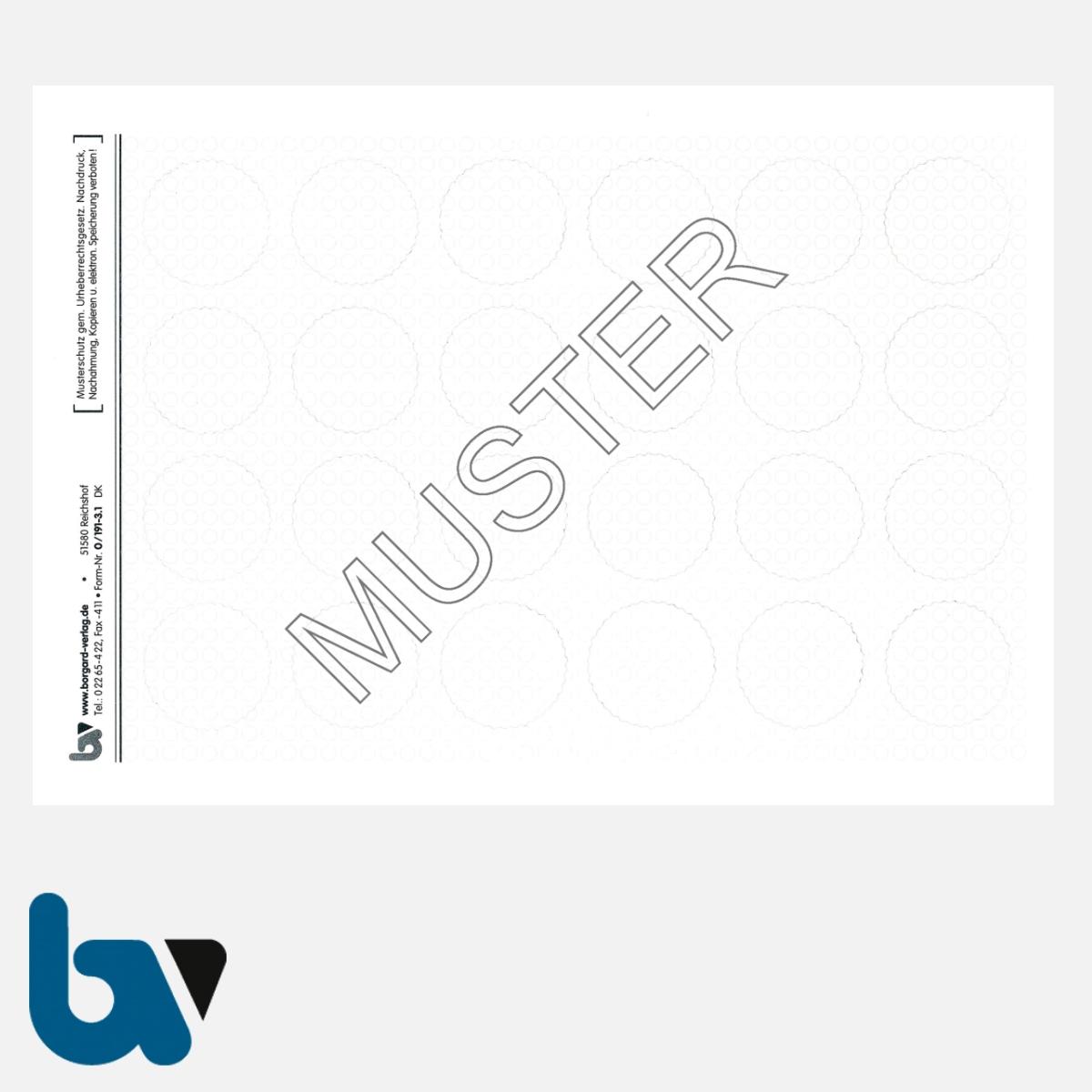 0/191-3.1 Verschlusssiegel Dokumentenfolie Dokumentensiegel blanko neutral rund Manipulation Sicher 25 mm Blatt 24 Stück | Borgard Verlag GmbH