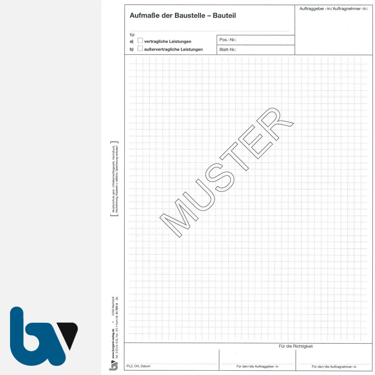 0/707-3 Bauaufmassblock Baustelle Bauteil selbstdurchschreibend Einschlagdeckel Durchschreibeschutz Schreibschutzdeckel perforiert DIN A4 Seite 1   Borgard Verlag GmbH
