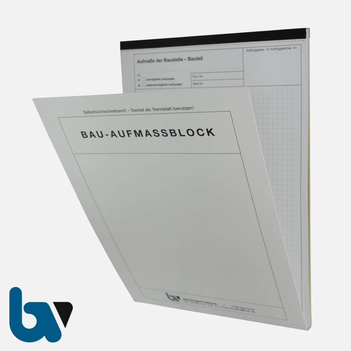 0/707-3 Bauaufmassblock Baustelle Bauteil selbstdurchschreibend Einschlagdeckel Durchschreibeschutz Schreibschutzdeckel perforiert DIN A4 Vorderseite | Borgard Verlag GmbH