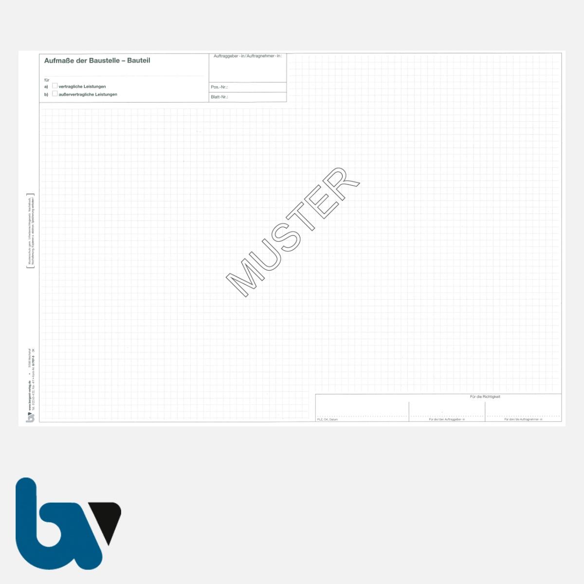 0/707-5 Bauaufmassblock Baustelle Bauteil selbstdurchschreibend Einschlagdeckel Durchschreibeschutz Schreibschutzdeckel perforiert DIN A3 Seite 1 | Borgard Verlag GmbH