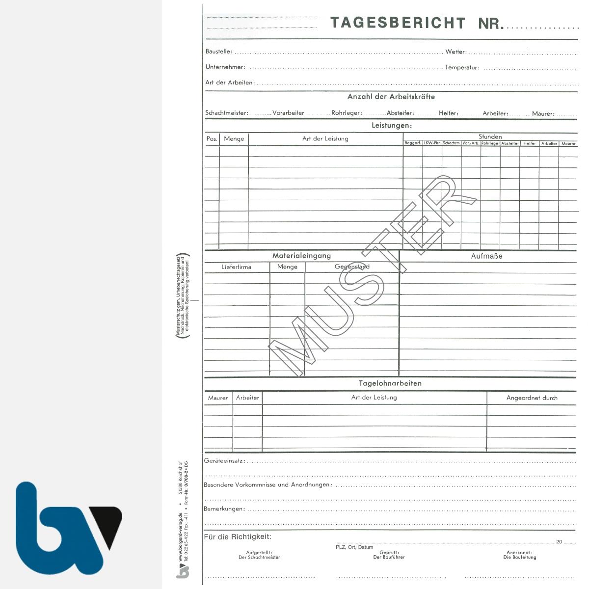 0/708-2 Tagesbericht Baustelle Arbeit Material Gerät selbstdurchschreibend Einschlagdeckel Durchschreibeschutz Schreibschutzdeckel perforiert DIN A4 Seite 1 | Borgard Verlag GmbH