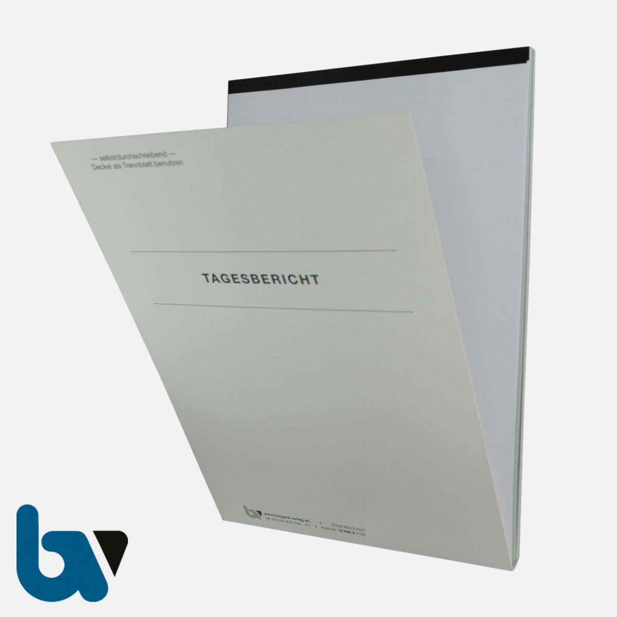 0/708-2 Tagesbericht Baustelle Arbeit Material Gerät selbstdurchschreibend Einschlagdeckel Durchschreibeschutz Schreibschutzdeckel perforiert DIN A4 Vorderseite | Borgard Verlag GmbH