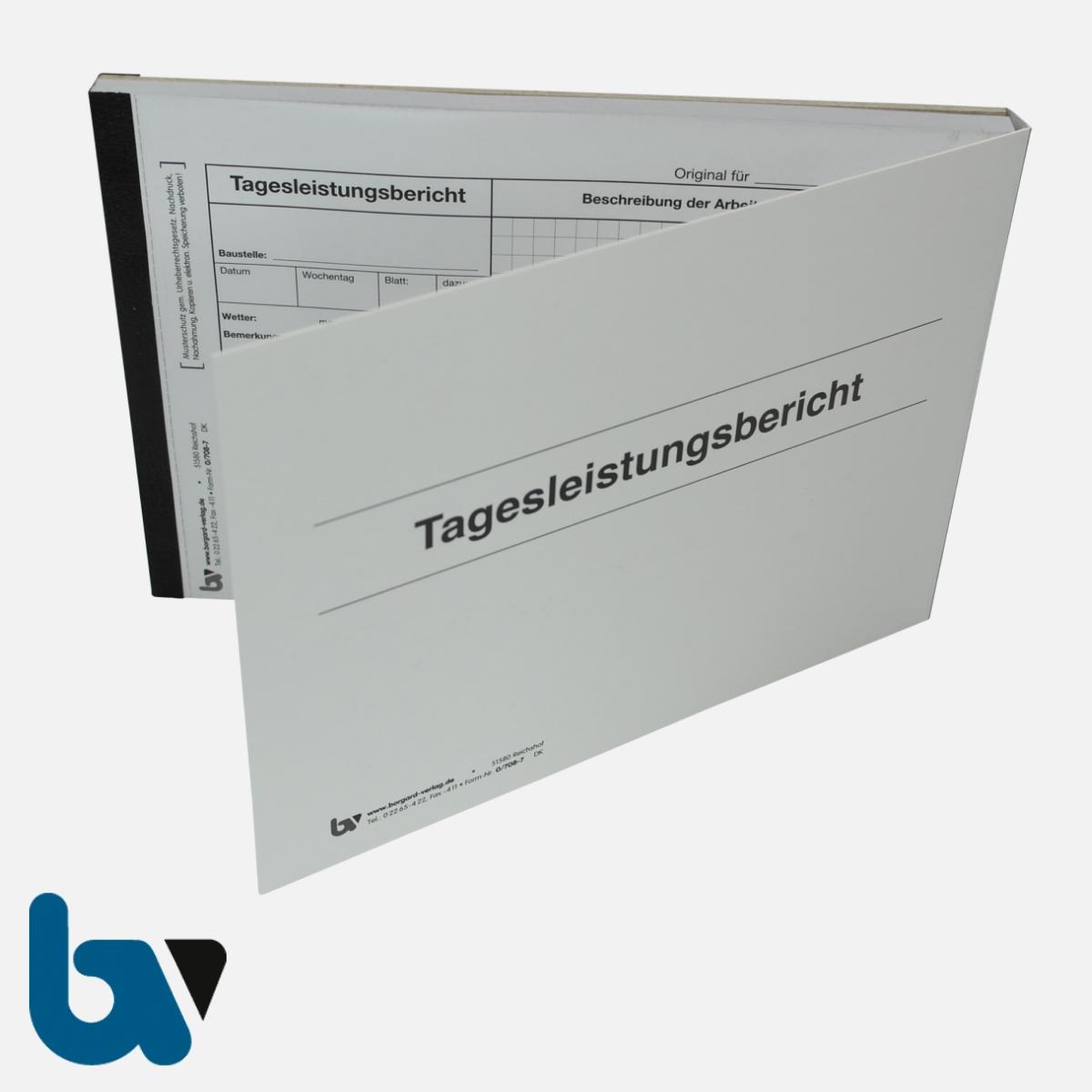 0/708-7 Tagesleistungsbericht Baustelle Arbeit selbstdurchschreibend Einschlagdeckel Durchschreibeschutz Schreibschutzdeckel perforiert DIN A5 Vorderseite | Borgard Verlag GmbH
