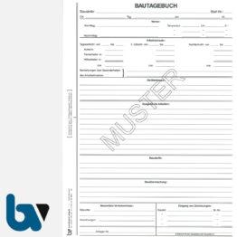 0/714-1 Bautagebuch Arbeit Gerät Baustoff Material selbstdurchschreibend Einschlagdeckel Durchschreibeschutz Schreibschutzdeckel perforiert DIN A4 Seite 1   Borgard Verlag GmbH
