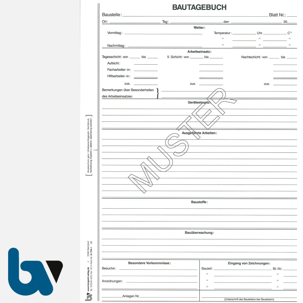 0/714-1 Bautagebuch Arbeit Gerät Baustoff Material selbstdurchschreibend Einschlagdeckel Durchschreibeschutz Schreibschutzdeckel perforiert DIN A4 Seite 1 | Borgard Verlag GmbH