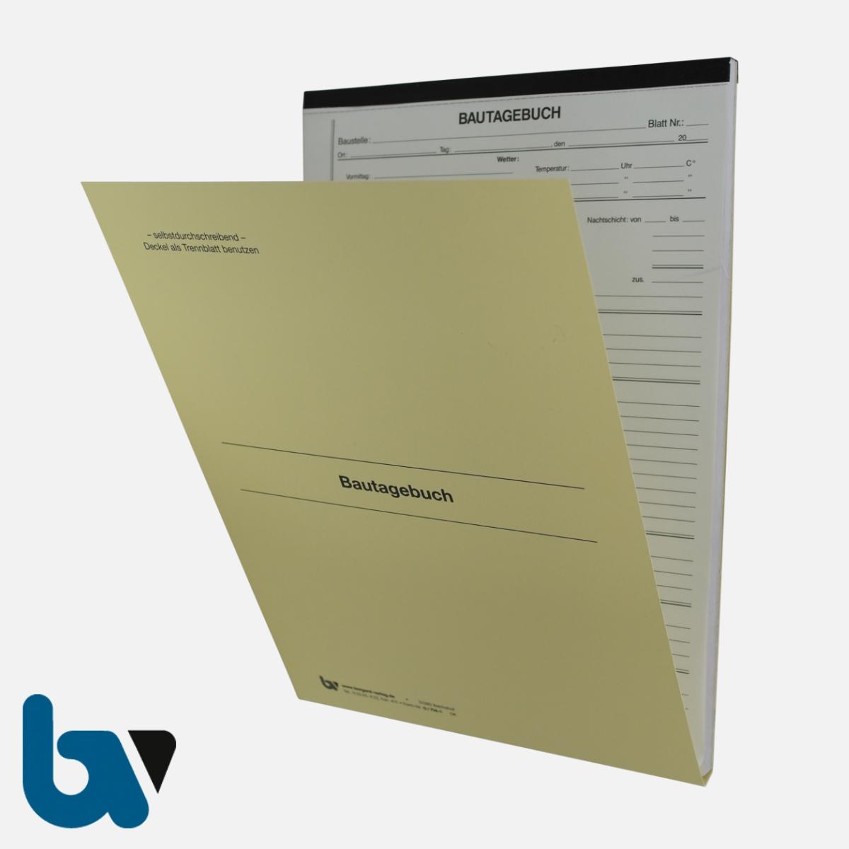 0/714-1 Bautagebuch Arbeit Gerät Baustoff Material selbstdurchschreibend Einschlagdeckel Durchschreibeschutz Schreibschutzdeckel perforiert DIN A4 Vorderseite | Borgard Verlag GmbH