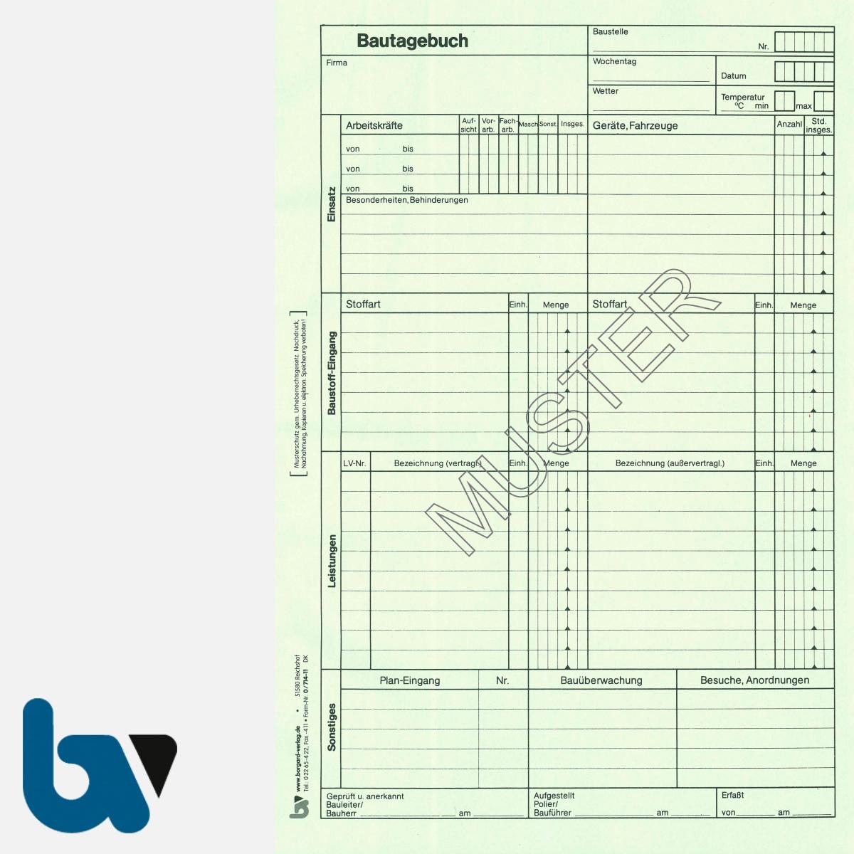 0/714-11 Bautagebuch Arbeit Baustoff Material selbstdurchschreibend 3-fach Einschlagdeckel Durchschreibeschutz Schreibschutzdeckel perforiert DIN A4 Seite 1 | Borgard Verlag GmbH