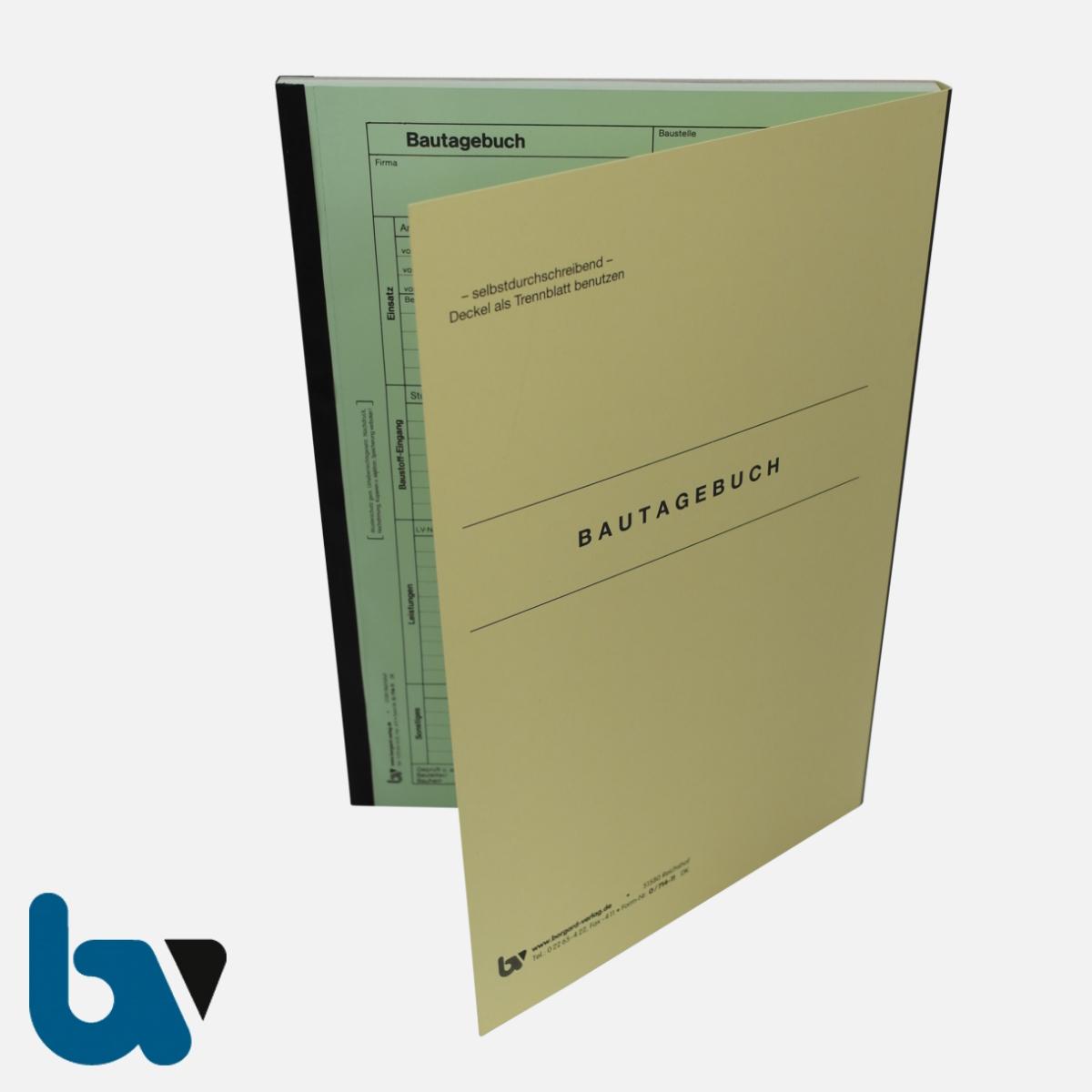 0/714-11 Bautagebuch Arbeit Baustoff Material selbstdurchschreibend 3-fach Einschlagdeckel Durchschreibeschutz Schreibschutzdeckel perforiert DIN A4 Vorderseite | Borgard Verlag GmbH