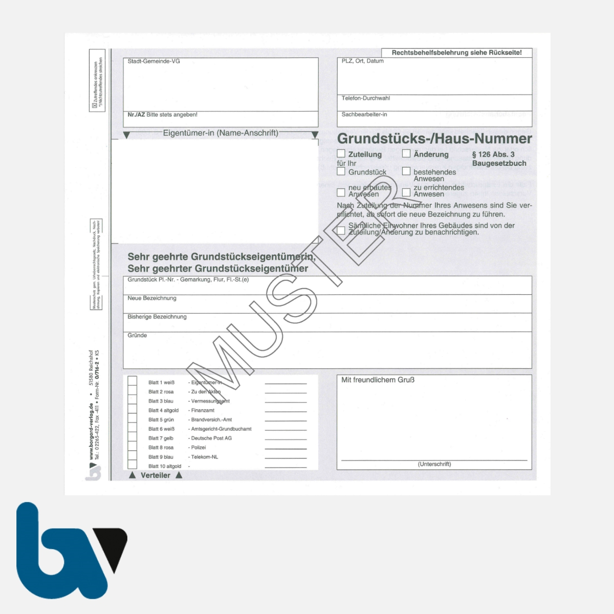 0/716-2 Grundstück Hausnummer Zuteilung Änderung §126 Baugesetzbuch selbstdurchschreibend 10-fach DIN Seite 1 | Borgard Verlag GmbH
