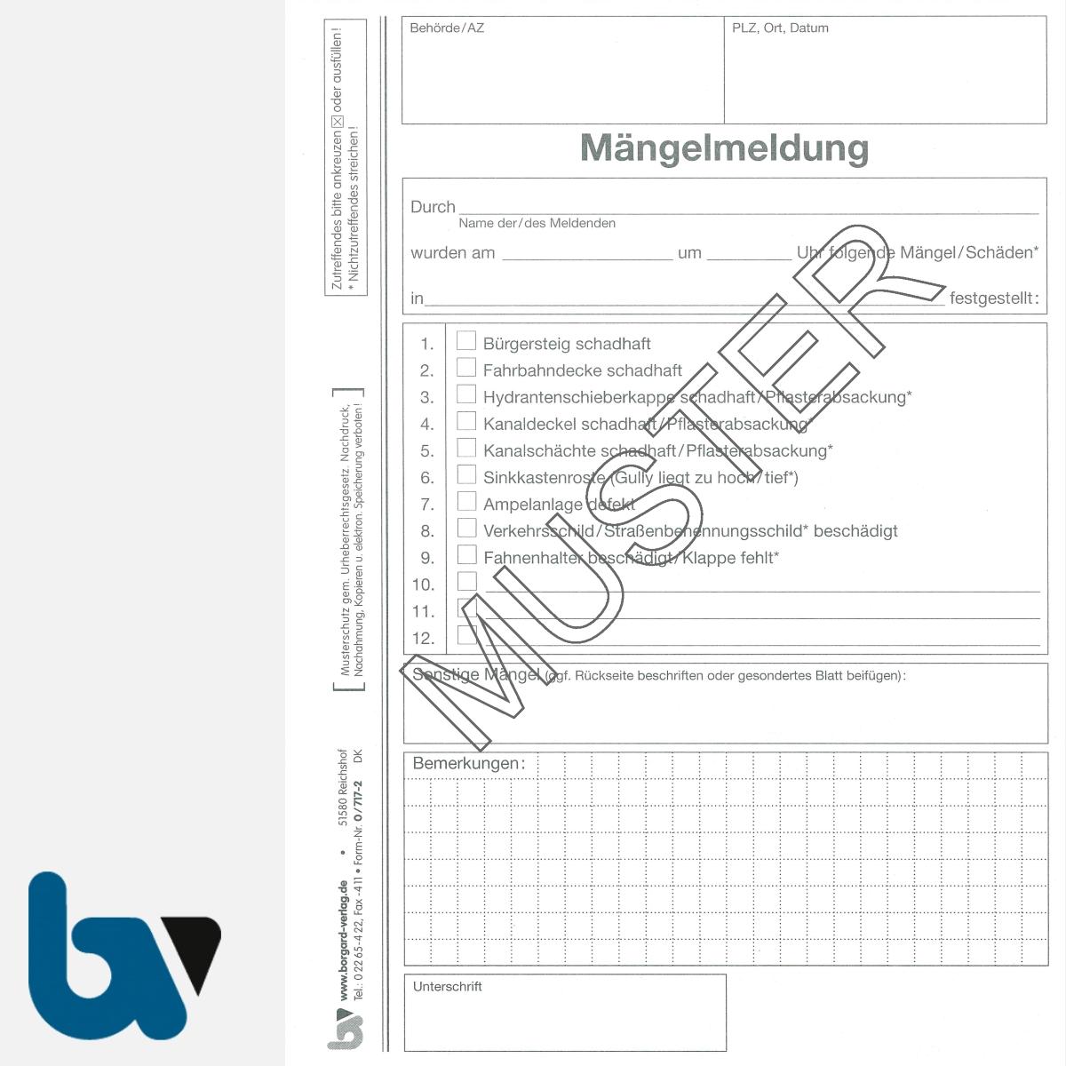 0/717-2 Mängelmeldung Fahrbahn Gehweg Kanal Verkehr selbstdurchschreibend Einschlagdeckel Durchschreibeschutz Schreibschutzdeckel perforiert DIN A5 Seite 1 | Borgard Verlag GmbH