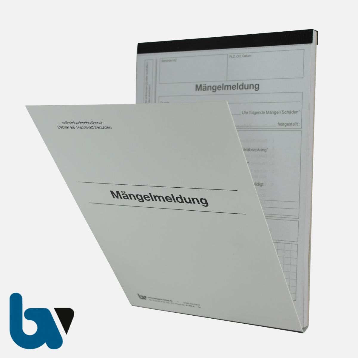 0/717-2 Mängelmeldung Fahrbahn Gehweg Kanal Verkehr selbstdurchschreibend Einschlagdeckel Durchschreibeschutz Schreibschutzdeckel perforiert DIN A5 Vorderseite | Borgard Verlag GmbH