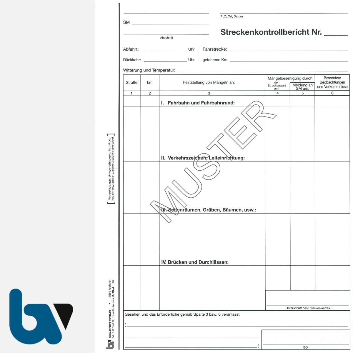 0/717-4 Streckenkontrollbericht Mängelmeldung selbstdurchschreibend Einschlagdeckel Durchschreibeschutz Schreibschutzdeckel perforiert DIN A4 Seite 1 | Borgard Verlag GmbH