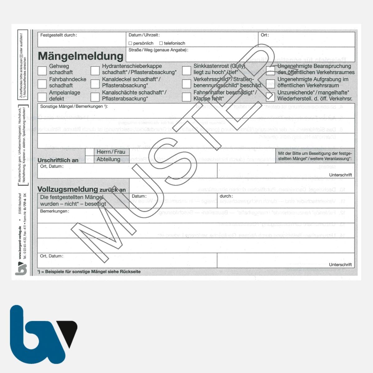 0/717-6 Mängelmeldung Fahrbahn Gehweg Kanal Verkehr selbstdurchschreibend Einschlagdeckel Durchschreibeschutz Schreibschutzdeckel perforiert DIN A5 Seite 1 | Borgard Verlag GmbH