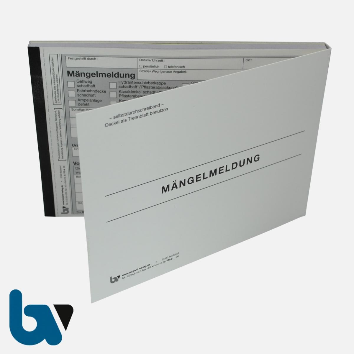 0/717-6 Mängelmeldung Fahrbahn Gehweg Kanal Verkehr selbstdurchschreibend Einschlagdeckel Durchschreibeschutz Schreibschutzdeckel perforiert DIN A5 Vorderseite | Borgard Verlag GmbH