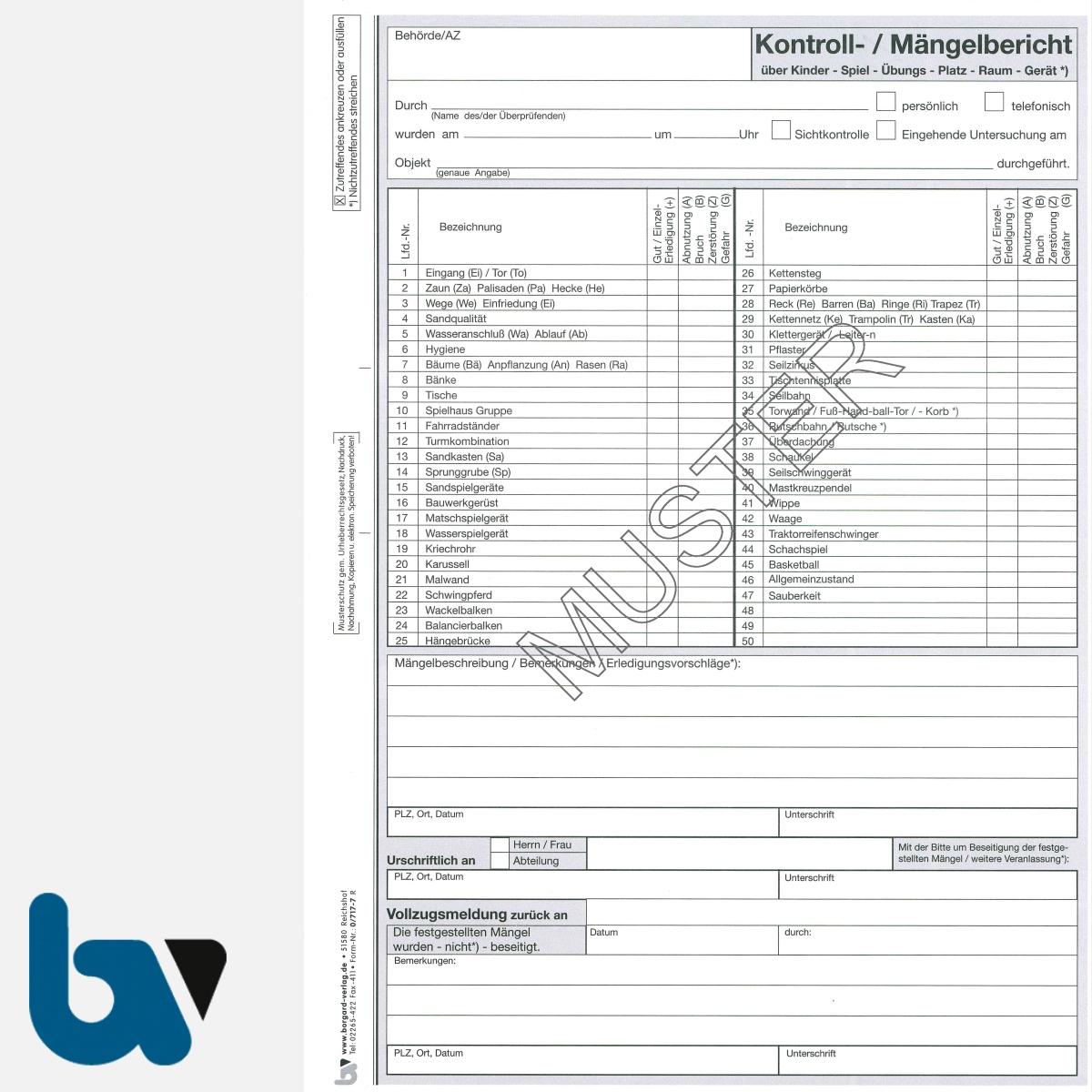 0/717-7 Kontoll Mängelbericht Spielplatz Gerät Kinder selbstdurchschreibend Einschlagdeckel Durchschreibeschutz Schreibschutzdeckel perforiert DIN A4 Seite 1 | Borgard Verlag GmbH