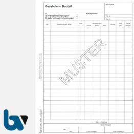 0/724-1 Bauaufmassblock Baustelle Bauteil selbstdurchschreibend Einschlagdeckel Durchschreibeschutz Schreibschutzdeckel perforiert DIN A4 Seite 1 | Borgard Verlag GmbH