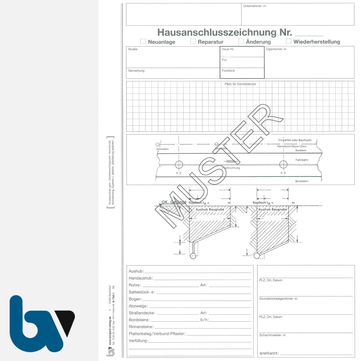 0/763-1 Aufmassprotokoll Hausanschluss Baustelle selbstdurchschreibend Einschlagdeckel Durchschreibeschutz Schreibschutzdeckel perforiert DIN A4 Seite 1 | Borgard Verlag GmbH