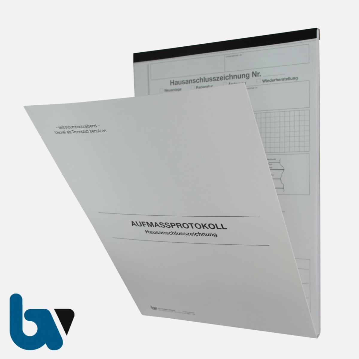 0/763-1 Aufmassprotokoll Hausanschluss Baustelle selbstdurchschreibend Einschlagdeckel Durchschreibeschutz Schreibschutzdeckel perforiert DIN A4 Vorderseite | Borgard Verlag GmbH