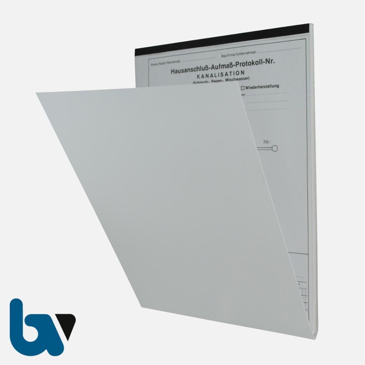 0/763-2 Aufmassprotokoll Hausanschluss Kanal Abwasser selbstdurchschreibend Einschlagdeckel Durchschreibeschutz Schreibschutzdeckel perforiert DIN A4 Vorderseite | Borgard Verlag GmbH